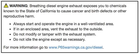 Aurora (Diesel or Industrial Diesel) California Proposition 65